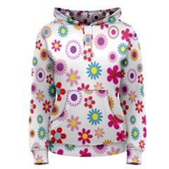 Colorful Floral Flowers Pattern Women s Pullover Hoodie by Simbadda