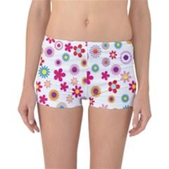 Colorful Floral Flowers Pattern Reversible Bikini Bottoms by Simbadda