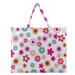 Colorful Floral Flowers Pattern Zipper Large Tote Bag by Simbadda