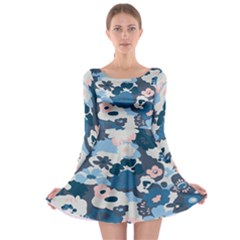 Fabric Wildflower Bluebird Long Sleeve Skater Dress
