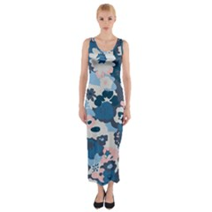 Fabric Wildflower Bluebird Fitted Maxi Dress
