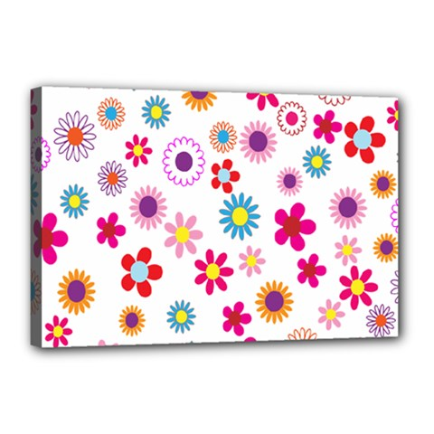 Colorful Floral Flowers Pattern Canvas 18  X 12  by Simbadda