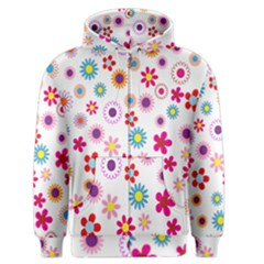 Colorful Floral Flowers Pattern Men s Zipper Hoodie