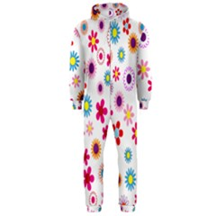 Colorful Floral Flowers Pattern Hooded Jumpsuit (men)