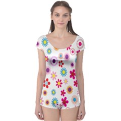 Colorful Floral Flowers Pattern Boyleg Leotard  by Simbadda