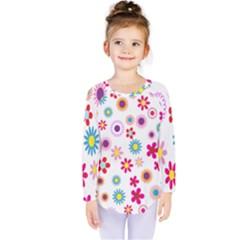 Colorful Floral Flowers Pattern Kids  Long Sleeve Tee