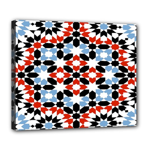 Morrocan Fez Pattern Arabic Geometrical Deluxe Canvas 24  X 20   by Simbadda