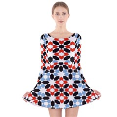 Morrocan Fez Pattern Arabic Geometrical Long Sleeve Velvet Skater Dress