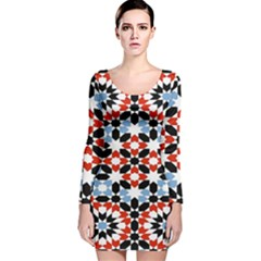 Morrocan Fez Pattern Arabic Geometrical Long Sleeve Velvet Bodycon Dress