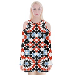 Morrocan Fez Pattern Arabic Geometrical Velvet Long Sleeve Shoulder Cutout Dress