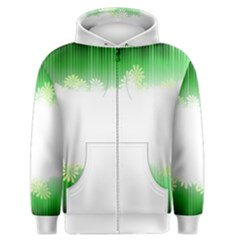 Green Floral Stripe Background Men s Zipper Hoodie