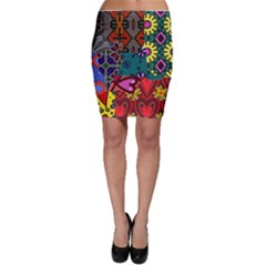 Patchwork Collage Bodycon Skirt