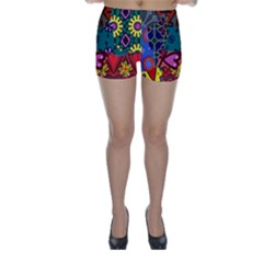 Patchwork Collage Skinny Shorts