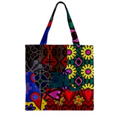 Patchwork Collage Zipper Grocery Tote Bag