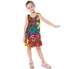 Patchwork Collage Kids  Sleeveless Dress by Simbadda