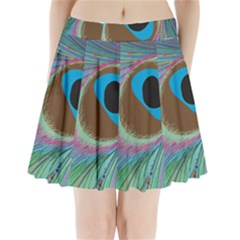 Peacock Feather Lines Background Pleated Mini Skirt by Simbadda