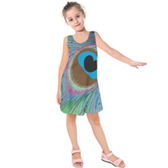 Peacock Feather Lines Background Kids  Sleeveless Dress by Simbadda
