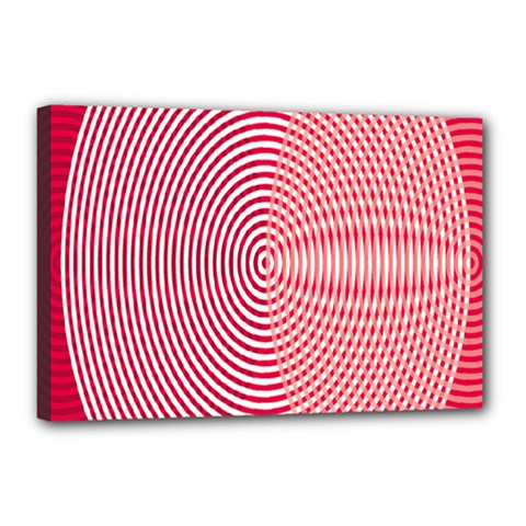 Circle Line Red Pink White Wave Canvas 18  X 12  by Alisyart