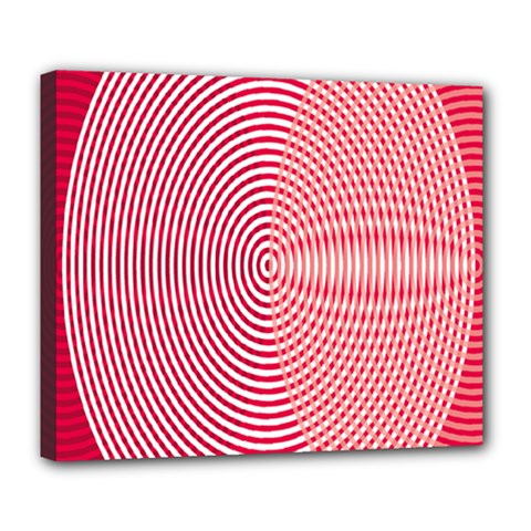 Circle Line Red Pink White Wave Deluxe Canvas 24  X 20   by Alisyart