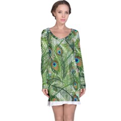 Peacock Feathers Pattern Long Sleeve Nightdress