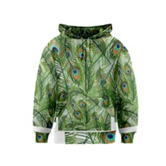 Peacock Feathers Pattern Kids  Zipper Hoodie