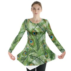 Peacock Feathers Pattern Long Sleeve Tunic  by Simbadda