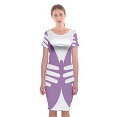 Colorful Butterfly Hand Purple Animals Classic Short Sleeve Midi Dress by Alisyart