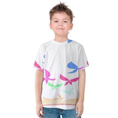 Colorful Butterfly Blue Red Pink Brown Fly Leaf Animals Kids  Cotton Tee by Alisyart