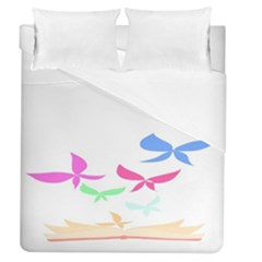 Colorful Butterfly Blue Red Pink Brown Fly Leaf Animals Duvet Cover (queen Size) by Alisyart