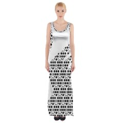 Honeycomb Swan Animals Black White Plaid Maxi Thigh Split Dress by Alisyart