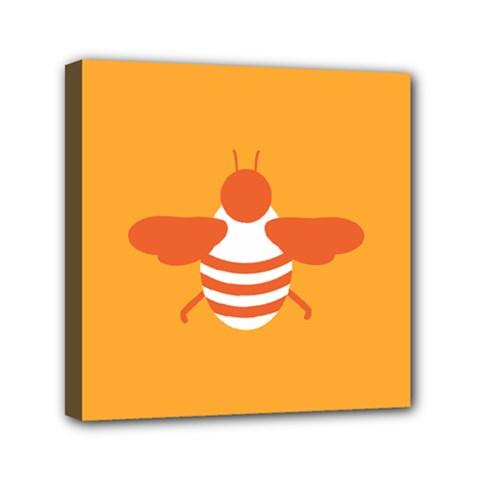 Littlebutterfly Illustrations Bee Wasp Animals Orange Honny Mini Canvas 6  X 6  by Alisyart