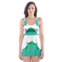 Little Butterfly Illustrations Caterpillar Green White Animals Skater Dress Swimsuit by Alisyart