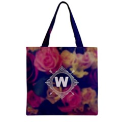 Vintage Monogram Flower Tote Bag