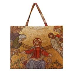 Gold Jesus Zipper Large Tote Bag by boho