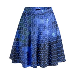 Blue Sequins High Waist Skirt by boho