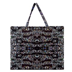 Black Diamonds Zipper Large Tote Bag by boho