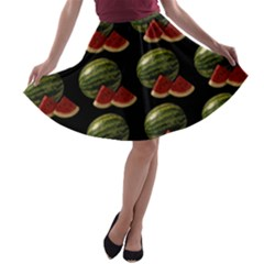 Black Watermelon A Line Skater Skirt by boho