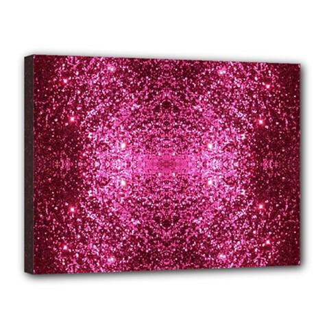 Pink Glitter Canvas 16  X 12  by boho