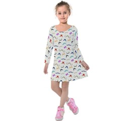 Mustaches Kids  Long Sleeve Velvet Dress by boho