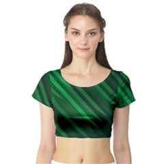 Abstract Blue Stripe Pattern Background Short Sleeve Crop Top (tight Fit) by Simbadda