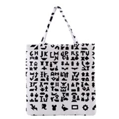 Anchor Puzzle Booklet Pages All Black Grocery Tote Bag by Simbadda