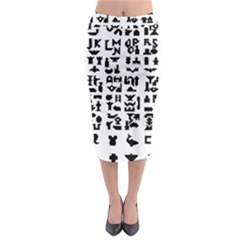 Anchor Puzzle Booklet Pages All Black Midi Pencil Skirt by Simbadda