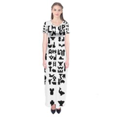Anchor Puzzle Booklet Pages All Black Short Sleeve Maxi Dress by Simbadda