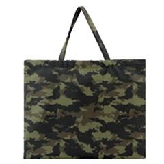 Camo Pattern Zipper Large Tote Bag by Simbadda
