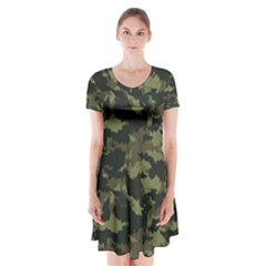 Camo Pattern Short Sleeve V Neck Flare Dress