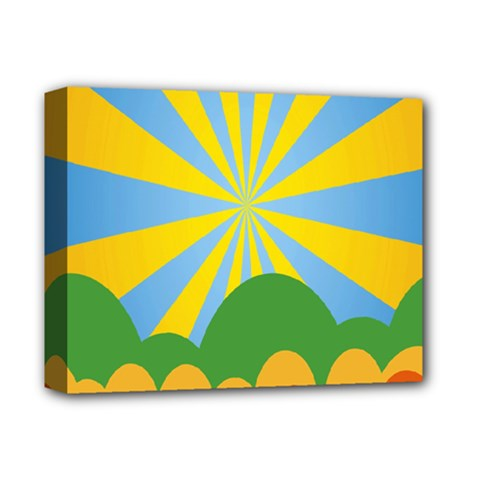 Sunlight Clouds Blue Yellow Green Orange White Sky Deluxe Canvas 14  X 11  by Alisyart