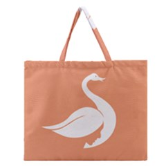 Swan Girl Face Hair Face Orange White Zipper Large Tote Bag by Alisyart