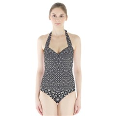 Modern Oriental Pattern Halter Swimsuit by dflcprintsclothing