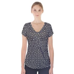 Modern Oriental Pattern Short Sleeve Front Detail Top by dflcprintsclothing
