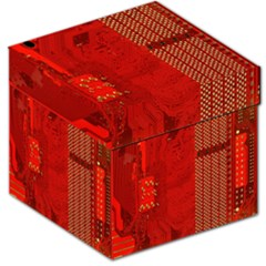 Computer Texture Red Motherboard Circuit Storage Stool 12   by Simbadda
